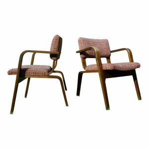 Vintage Pair Mid Century Modern Thonet Bent Wood Chairs