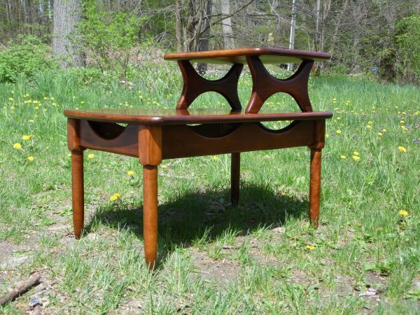 Mid Century Modern Step End Table Two Tier Sculptural Nightstand