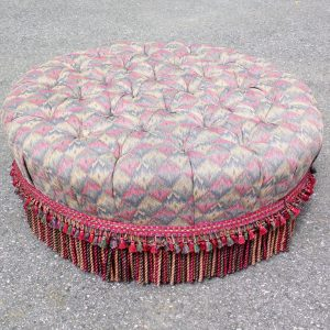 Huge Ethan Allen Tufted Fringed Round Foot Stool Oversize Ottoman