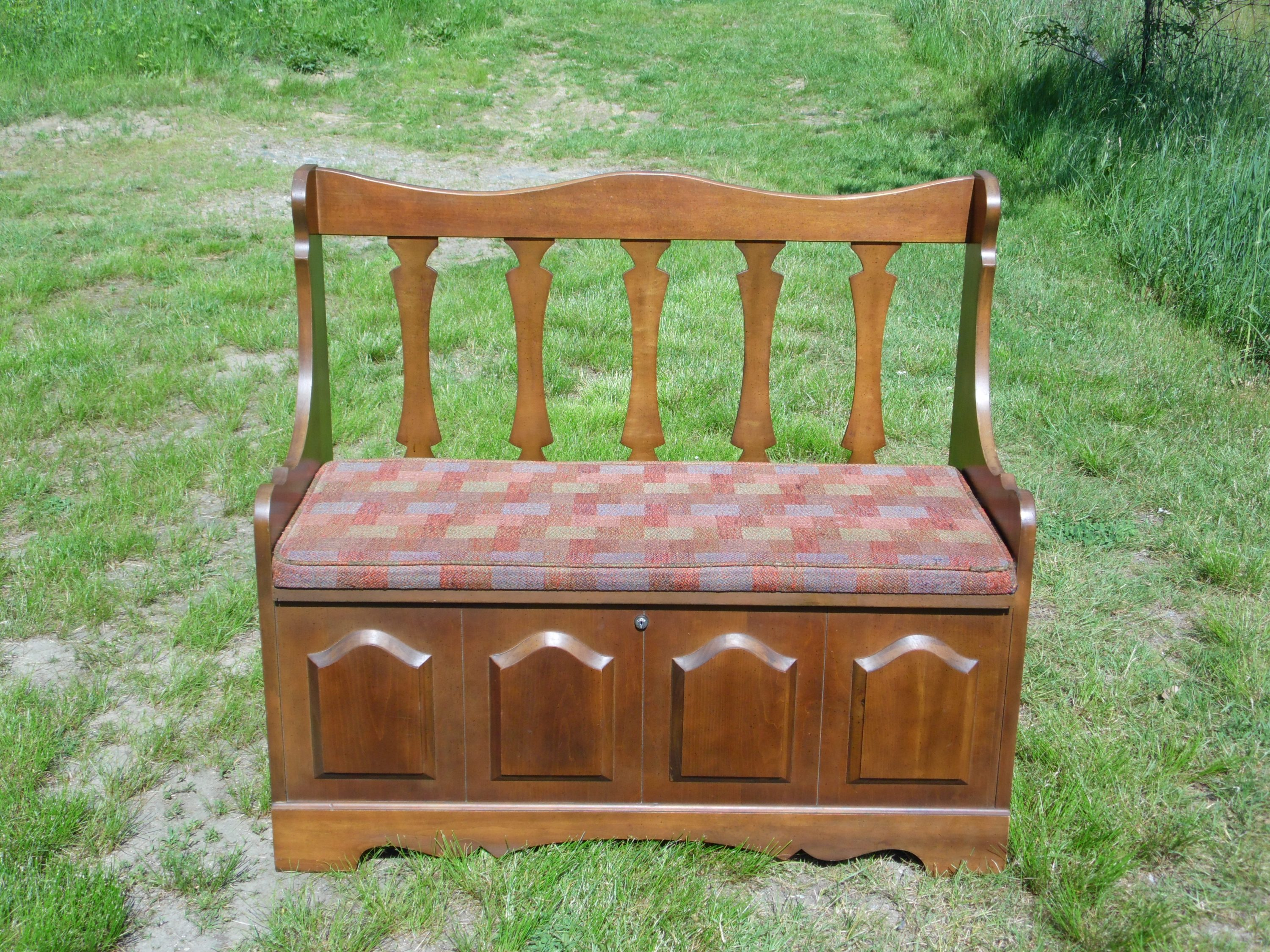 Vintage Mid Century Modern Lane Cedar Hope Chest Trunk Bench Loveseat Settee