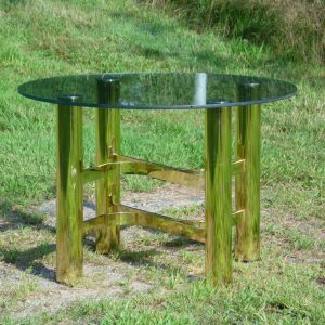 Vintage Mid Century Modern Hollywood Regency Brass & Glass Coffee End Table