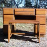 Vintage Mid Century Art Moderne Russell Wright Stardust Desk Vanity Bench Stool