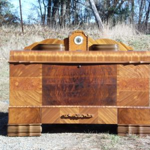 Antique Lane Art Deco Waterfall Cedar Chest Trunk with Lanshire Clock 1948
