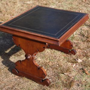 Antique Victorian Walnut Side Table Black Greek Key Embossed Leather Top