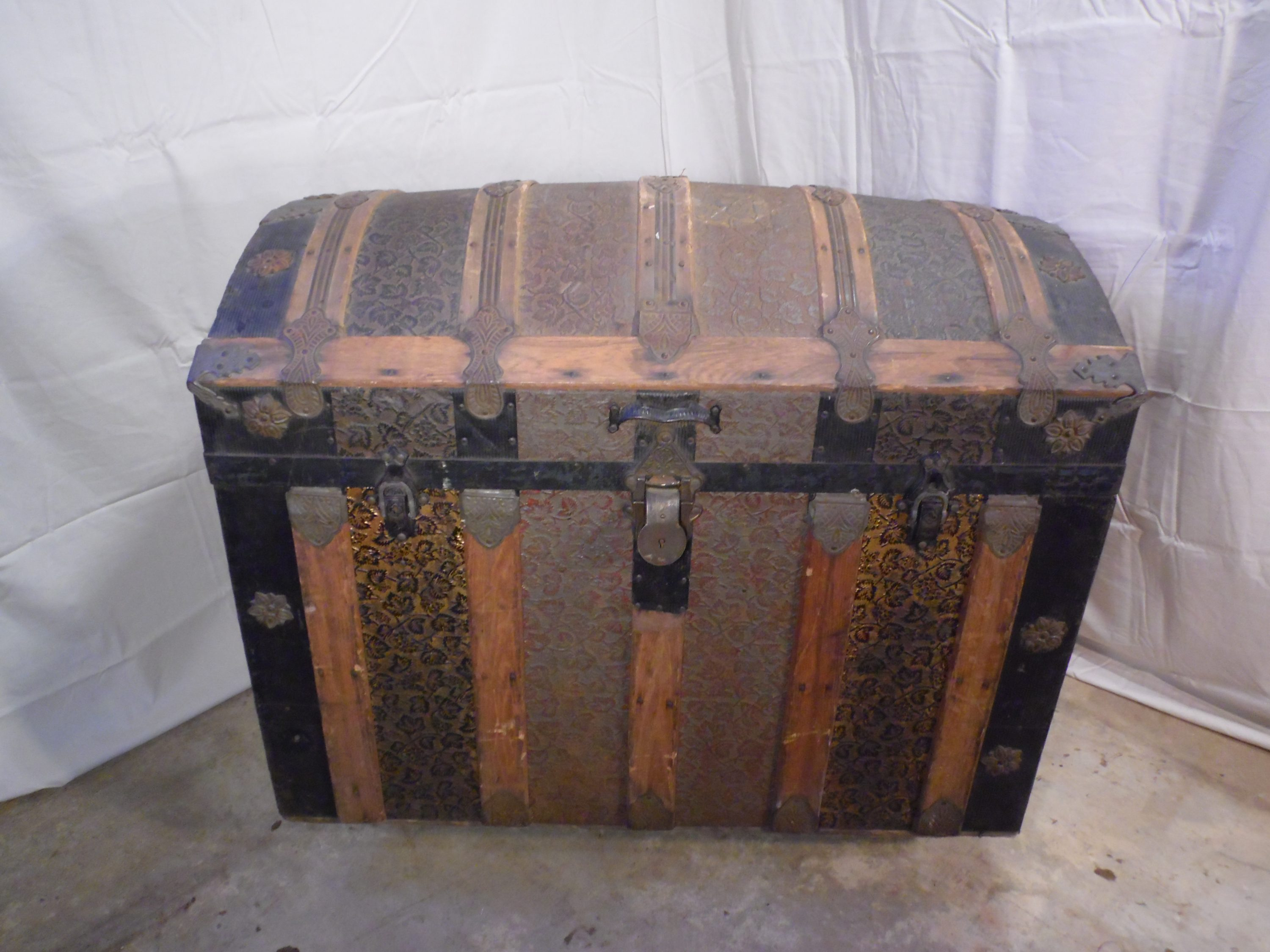 Antique Victorian Domed Top Steamer Trunk