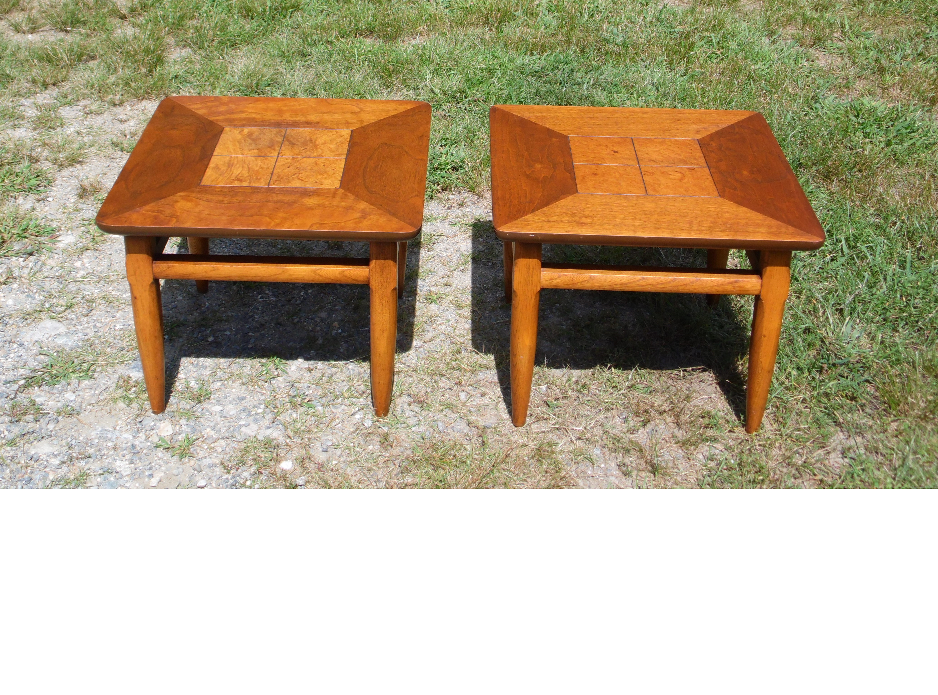 Mid Century Modern Pair Lane Walnut & Burl End Tables Nightstands