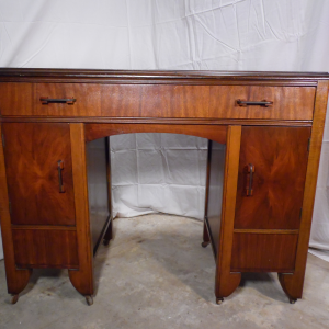 Antique Art Deco Walnut Office Desk Vanity