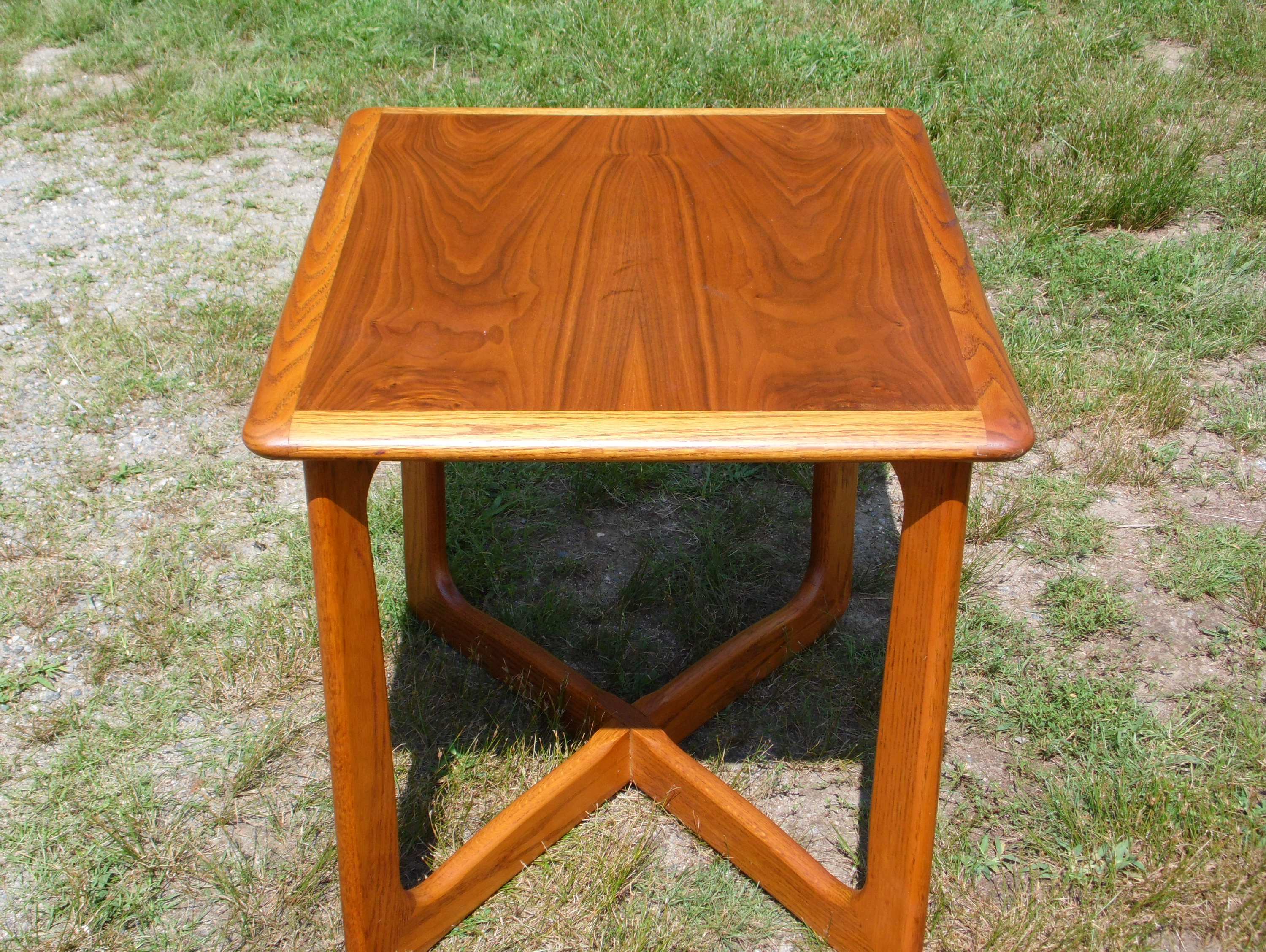 Vintage Mid Century Modern Lane Perception X Base Walnut End Table