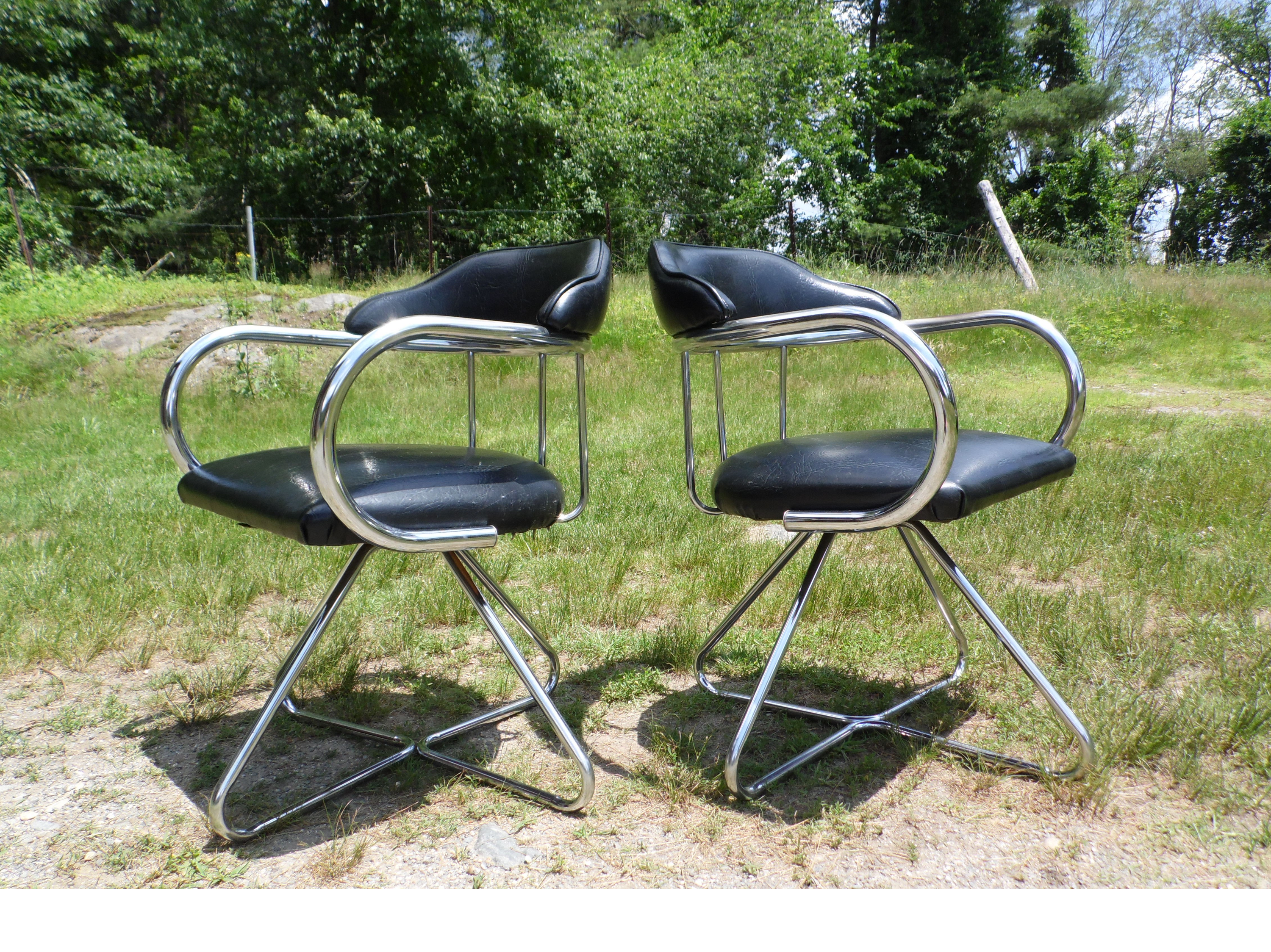 Vintage Pair Mid Century Modern Tubular Chrome Swivel Arm Chairs