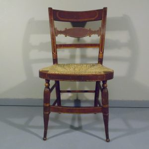 Antique Slat Back Rush Seat Hand Painted & Stenciled CT Farmhouse Chair