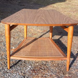 Vintage Mid Century Modern Lane Walnut & Cane Wedge End Table
