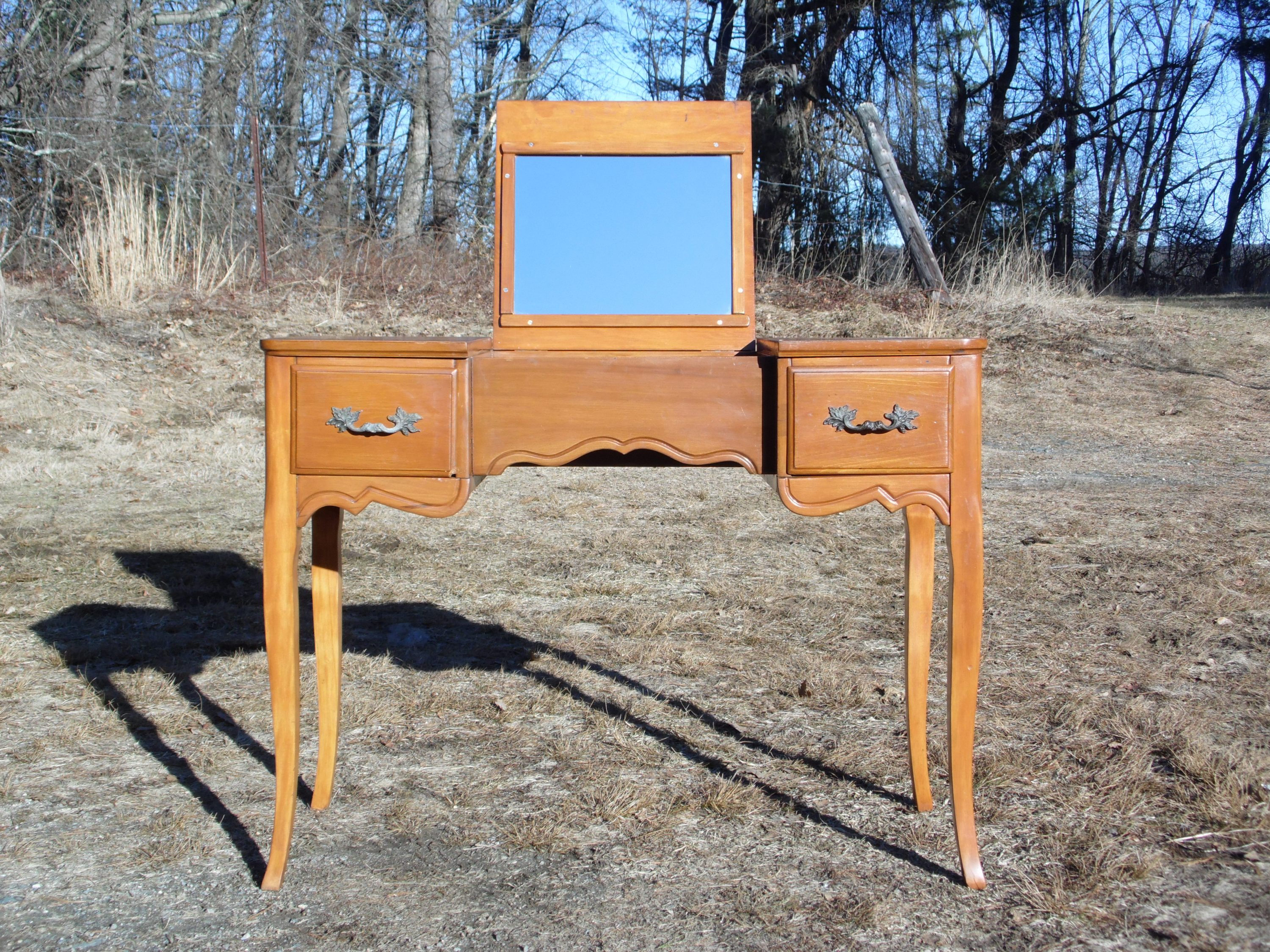 Vintage French Style Maple Writing Desk Dressing Table Vanity Flip