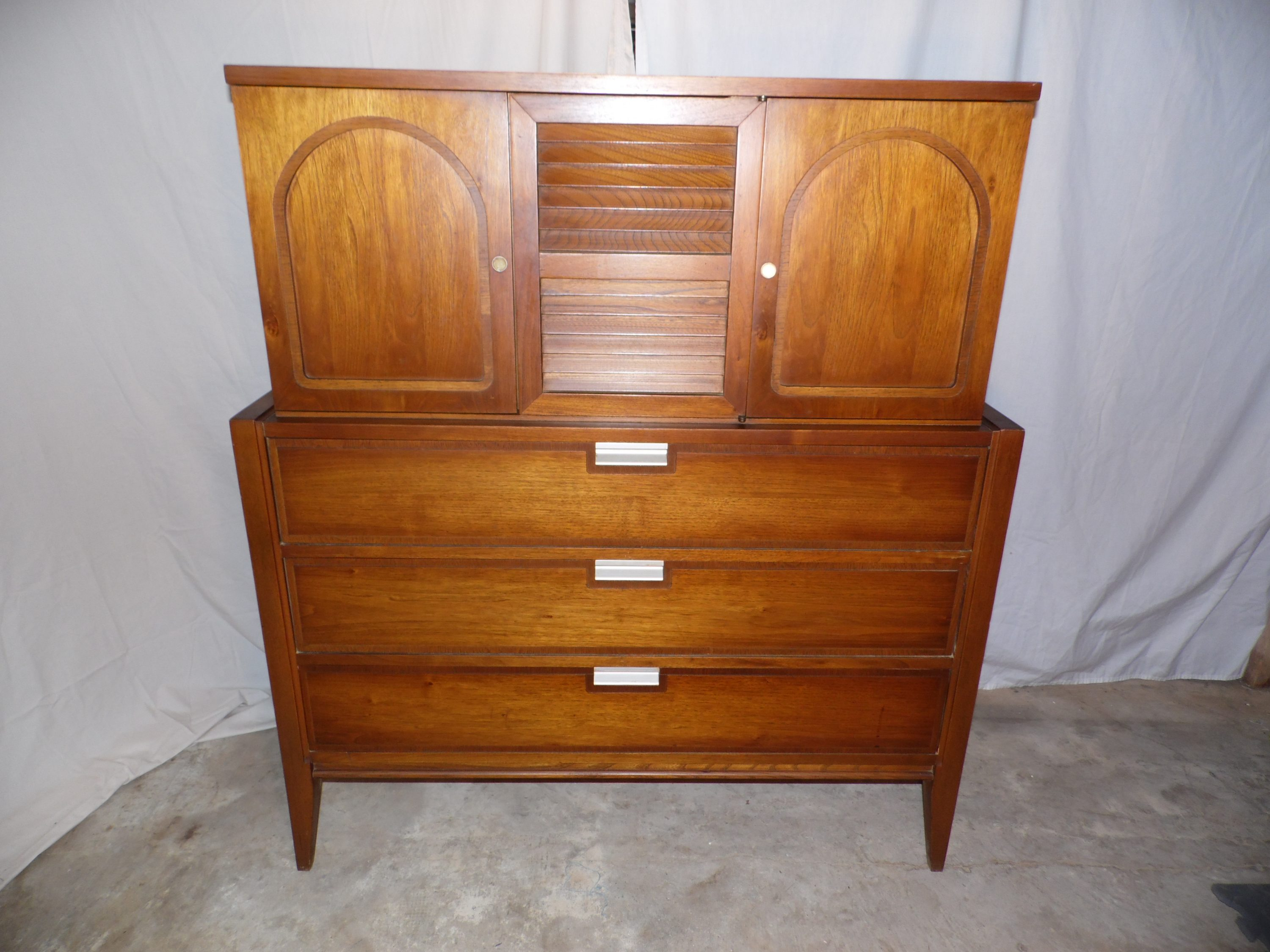 Vintage Mid Century Modern Basic Witz Dresser Gentleman's Chest of Drawers 1960s