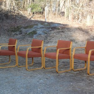 Vintage Set 4 Mid Century Modern Bentwood Lounge Office Arm Chairs