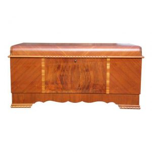 Antique LANE Art Deco Waterfall Cedar Hope Chest Trunk