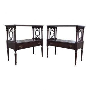 Antique Pair Federal End Tables Fretwork Bedside Night Stands