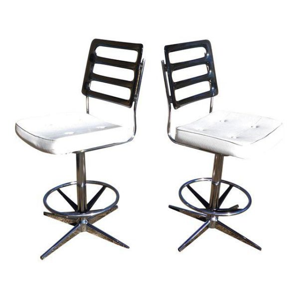 Vintage Mid Century Modern Pair Lucite Swivel Chairs Barstools Chromcraft