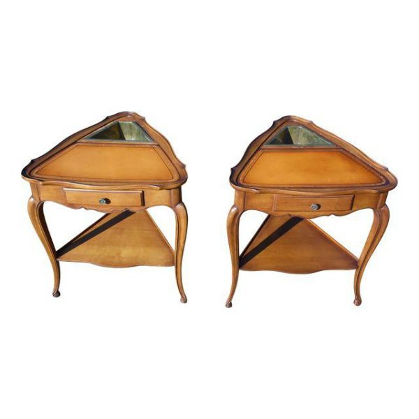 Vintage Pair French style Leather Top Triangle End Tables Nightstands Planters