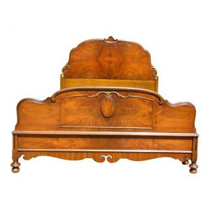 Antique French Louis XV Style Demilune Burled Solid Walnut Full Double Bed