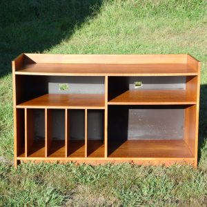 Vintage Danish Modern Teak Media Records Shelving Unit Bookcase