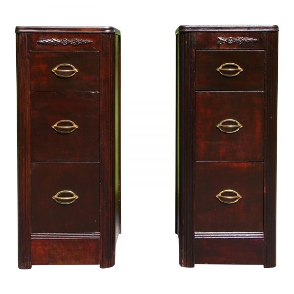 Antique Pair Art Deco Nightstands End Tables Bedroom Stands