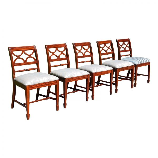 Vintage Set of 5 Federal Style Bernhardt Furniture Mahogany Dining Chairs
