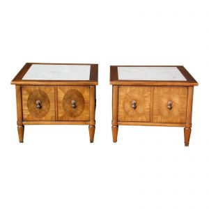 Pair Vintage Mid Century Modern Travertine & Walnut End Tables Bedside Cabinets
