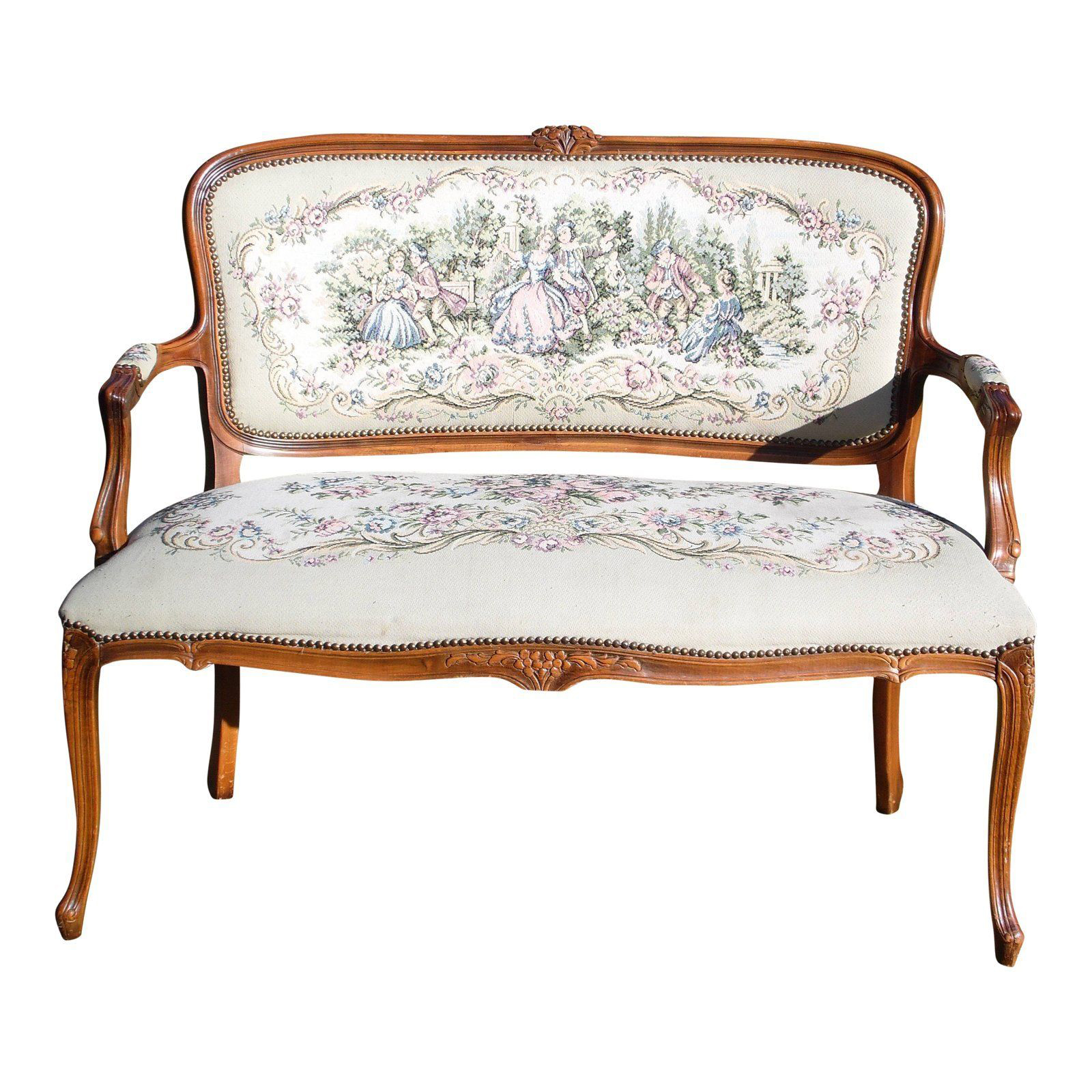 Vintage french provincial louis xv style tapestry settee chateau dax italy