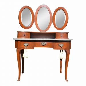 Antique French Louis XVI Regency Kidney Shaped Marble Top Desk Vanity & Mirrors