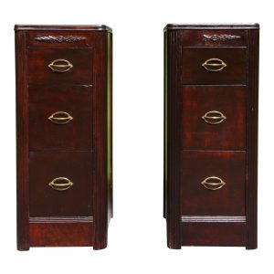 Antique Pair Art Deco Walnut Nightstands End Tables Bedroom Stands