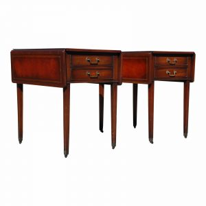Traditional Pair Federal Leather Top Mahogany Drop Leaf End Tables Nightstands