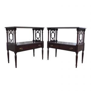 Antique Pair Federal style 1 Drawer End Table Fretwork Bedside Night Stands