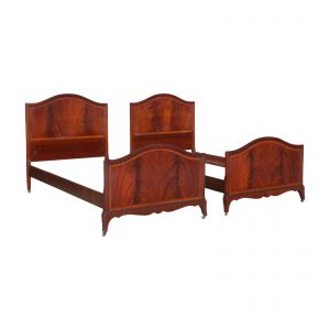 Antique Pair Art Deco Flame Mahogany Twin Beds Vintage Bedroom Set