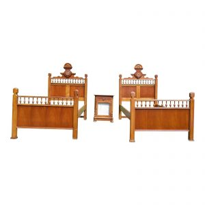 Vintage Lexington Betsy Cameron Victorian Bedroom Set Pair Twin Beds Nightstand