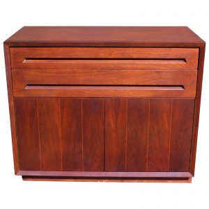 Vintage Mid Century Modern Walnut Mini Credenza Cabinet Server Chest