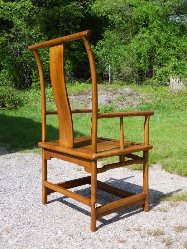 Vintage Chinese Ming Dynasty Style Solid Elm Hardwood High Back Asian Chair
