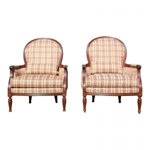 Pair of Ethan Allen Suzette Chairs Bergère Fireside Accent Chairs