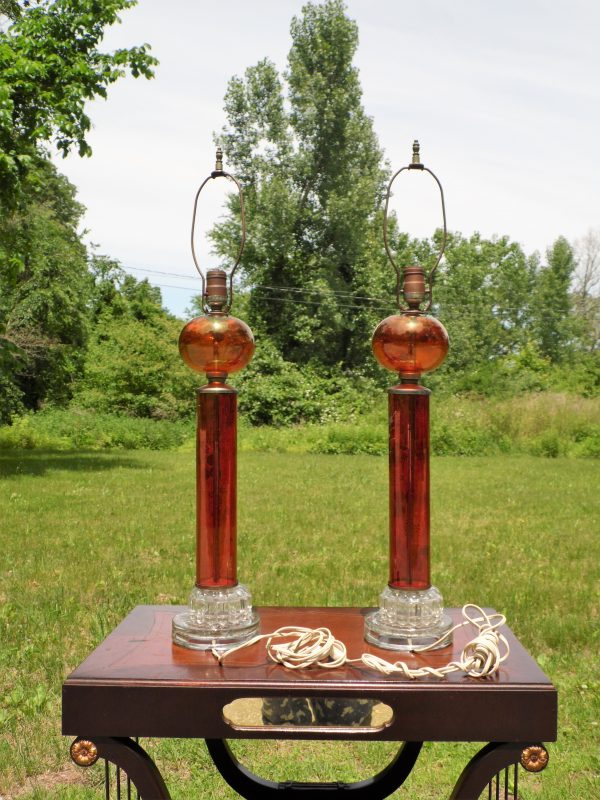 Antique Pair Victorian Style Cranberry Ruby Red Glass Hand Painted Table Lamps