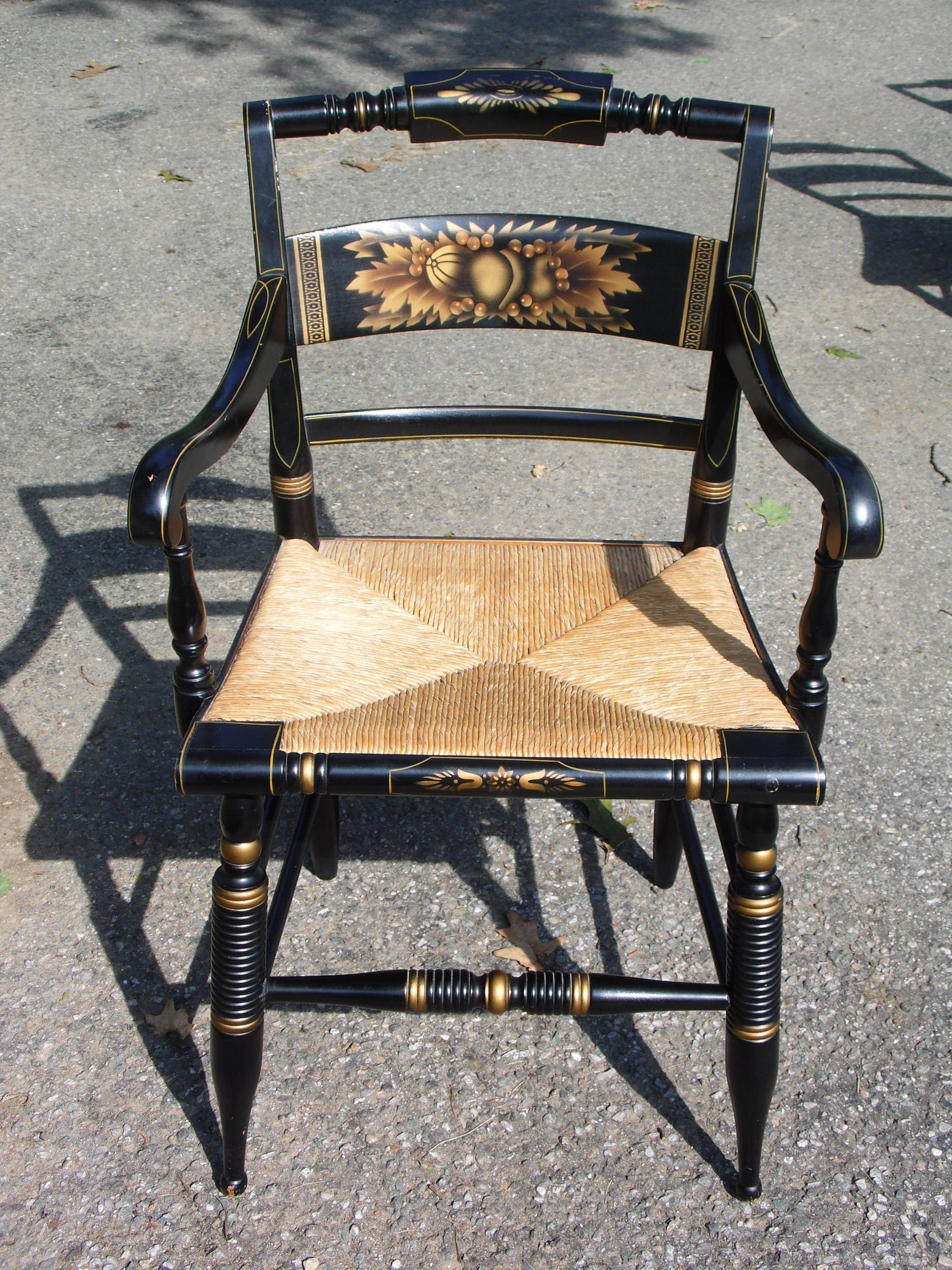 Outstanding Vintage Set Of 4 Slat Back Hitchcock Harvest Stenciled Rush Seat Dining Chairs Ocoug Best Dining Table And Chair Ideas Images Ocougorg