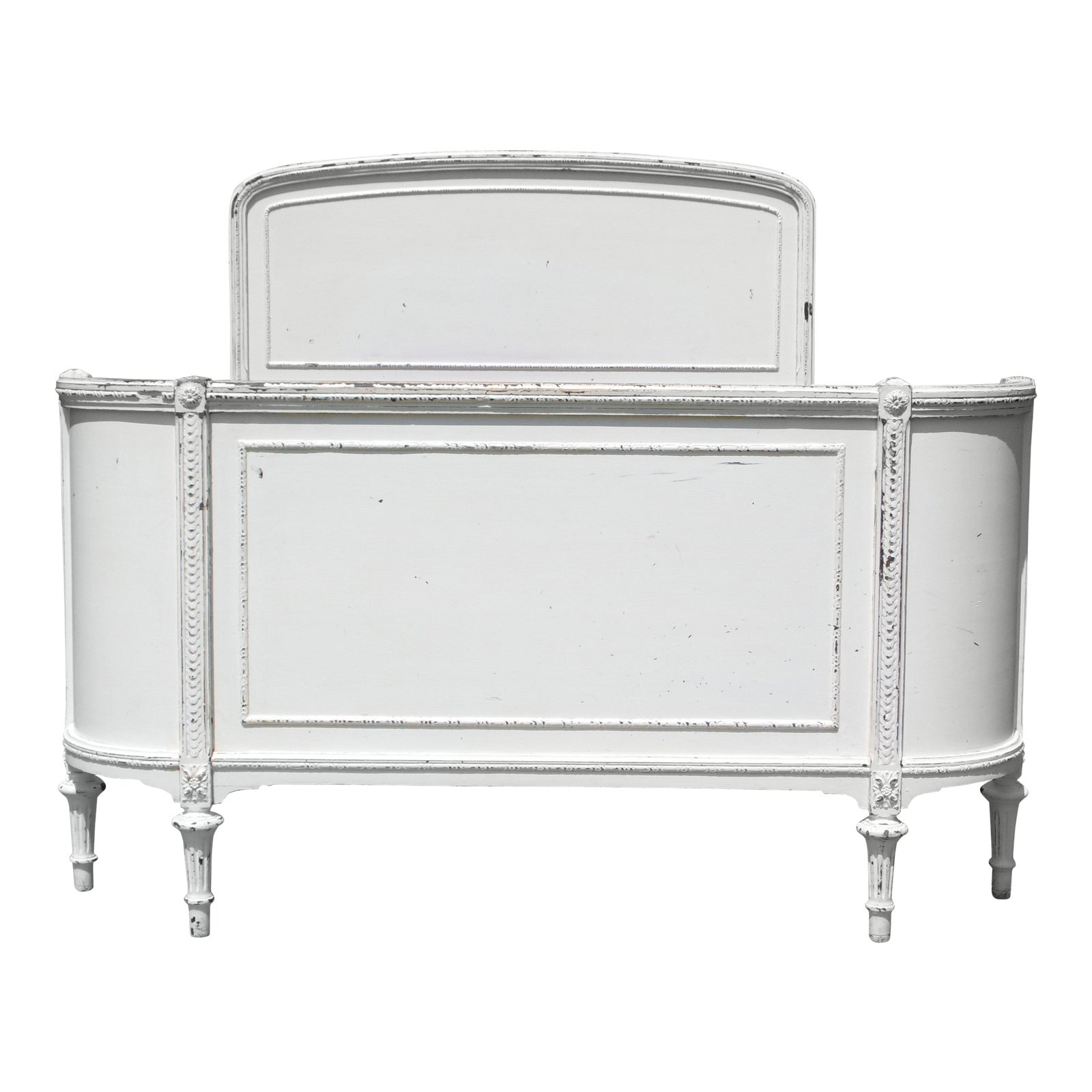Vintage Solid Wood White Painted Cottage Shabby Chic Double Full Bed