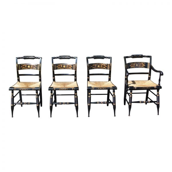 Vintage Set of 4 Turtle Back Hitchcock Harvest Stenciled Rush Seat Dining Chairs