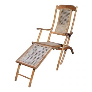 Antique Folding Wood & Cane Steamer Deck Chair Patio Lounge Chair
