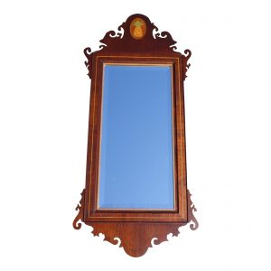 Vintage Federal Style Chippendale Mahogany Pineapple Inlay Mirror