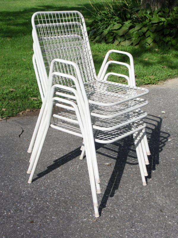 Vintage Mid Century Modern Emu Rio Stacking Metal Patio Chairs Italy- Set of 4