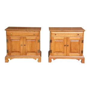 Pair Beal's Rock Maple Nightstands Bedside Cabinets End Tables Record Cabinet