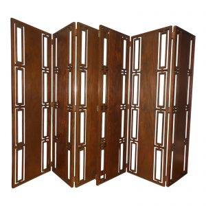 Vintage Mid Century Modern Solid Walnut 6 Panel Folding Screen Room Divider
