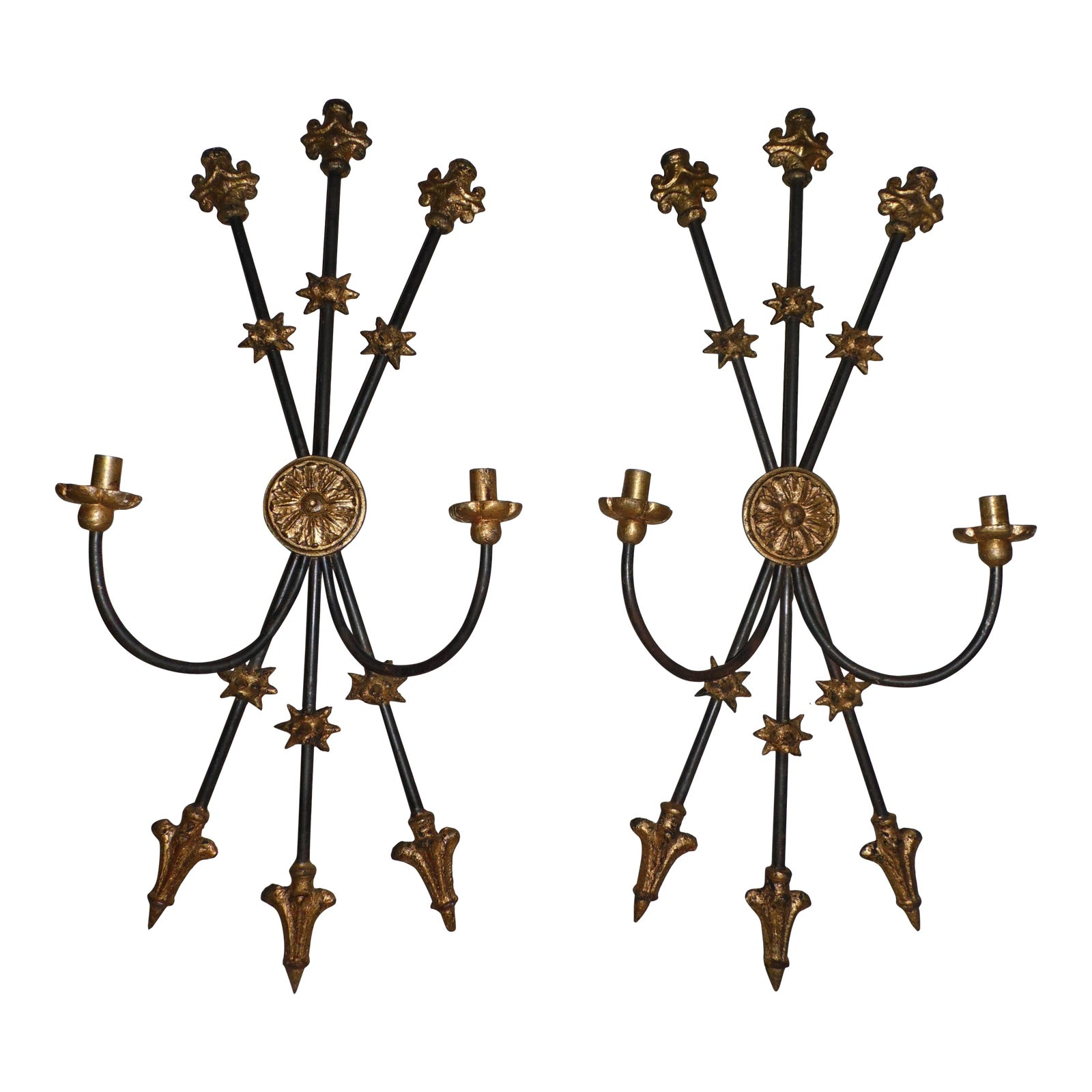 Vintage Pair Gothic Cast Iron Gilt Candle Sconces Wall Hanging Holders