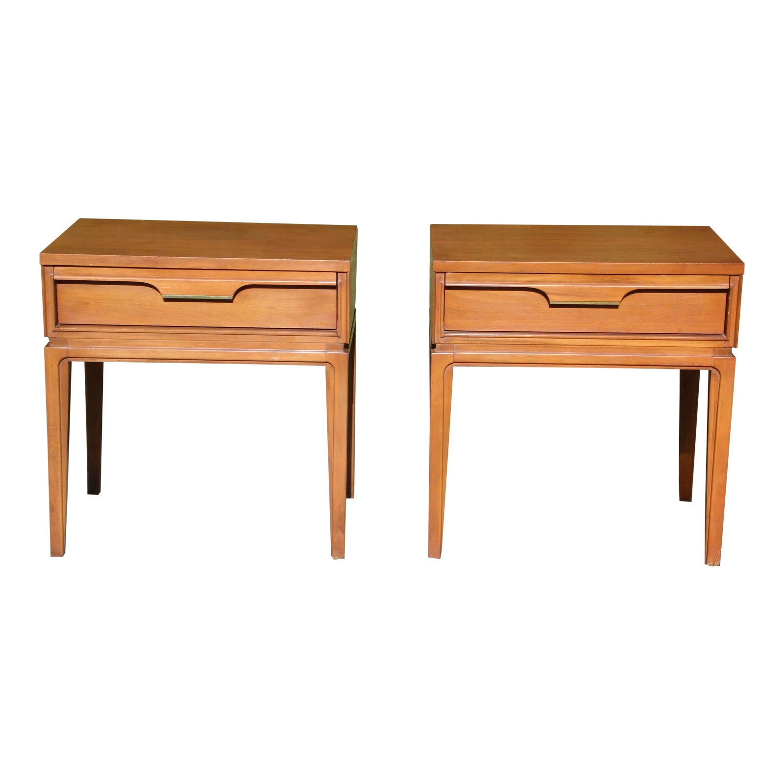Vintage Pair Mid Century Modern Basic Witz Basicana Walnut Nightstands End Tables