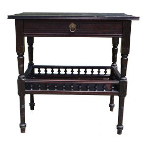 Antique American Victorian Eastlake Black Walnut Library Entry Work Table