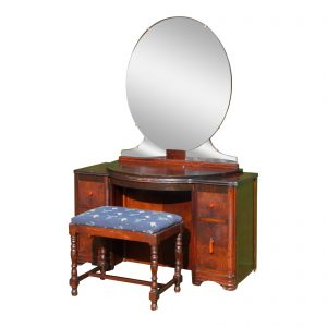 Antique Art Deco Walnut Vanity Dressing Table Mirror & Bench